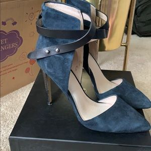 Navy Blue Suede Heels with Ankle Wrap 7.5